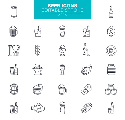 Beer Icons Editable Stroke - Bar Line Icons Set