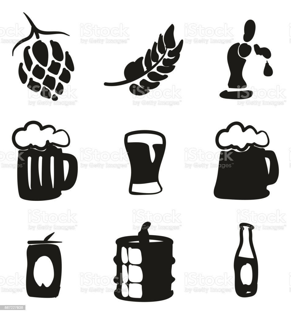 Beer Icons Freehand Fill vector art illustration