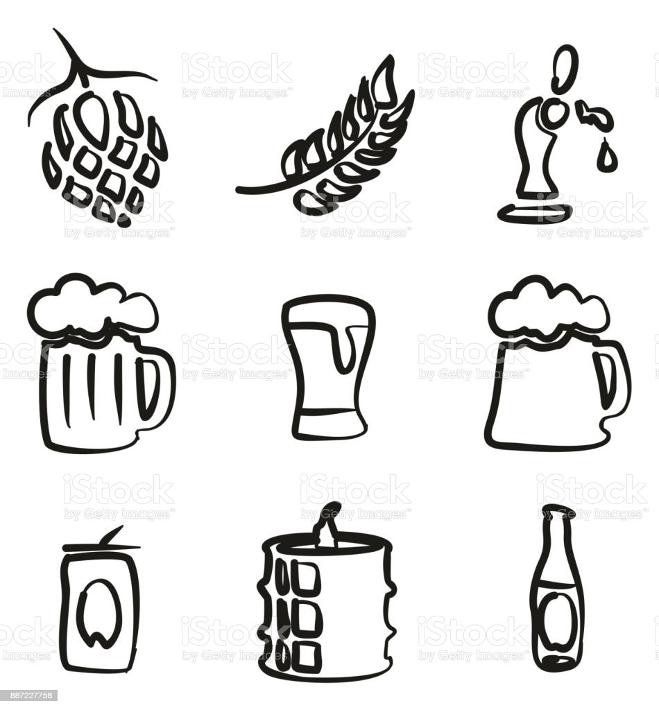Beer Icons Freehand vector art illustration