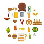 Beer icons set. Flat illustration of 25 beer vector icons isolated on white background