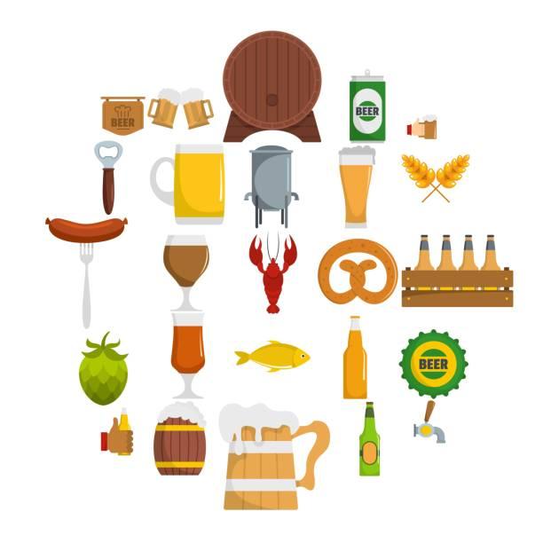 bier-symbole-set, flachen stil - wurst stock-grafiken, -clipart, -cartoons und -symbole