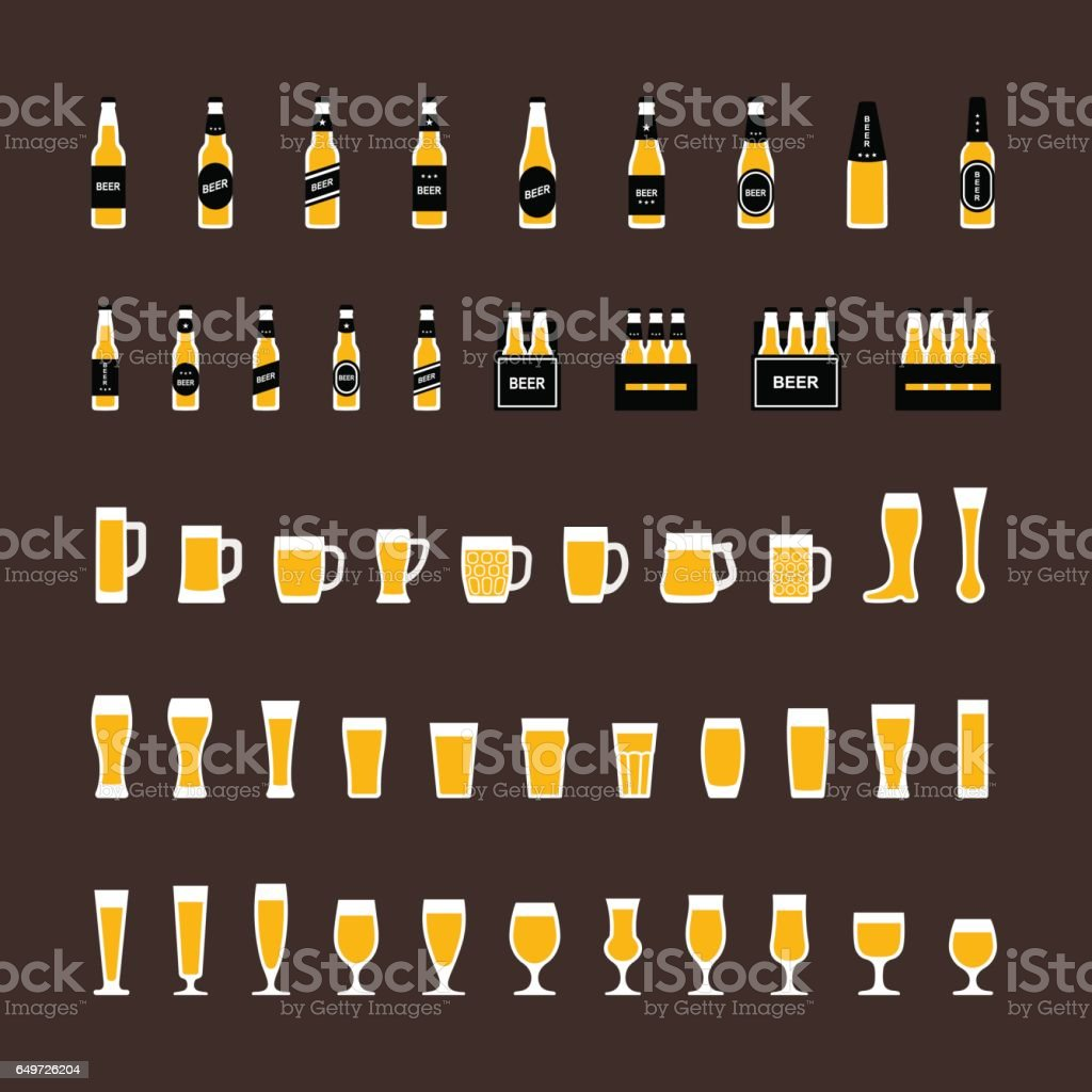 Beer icons set in flat style, bottles and glasses vector art illustration