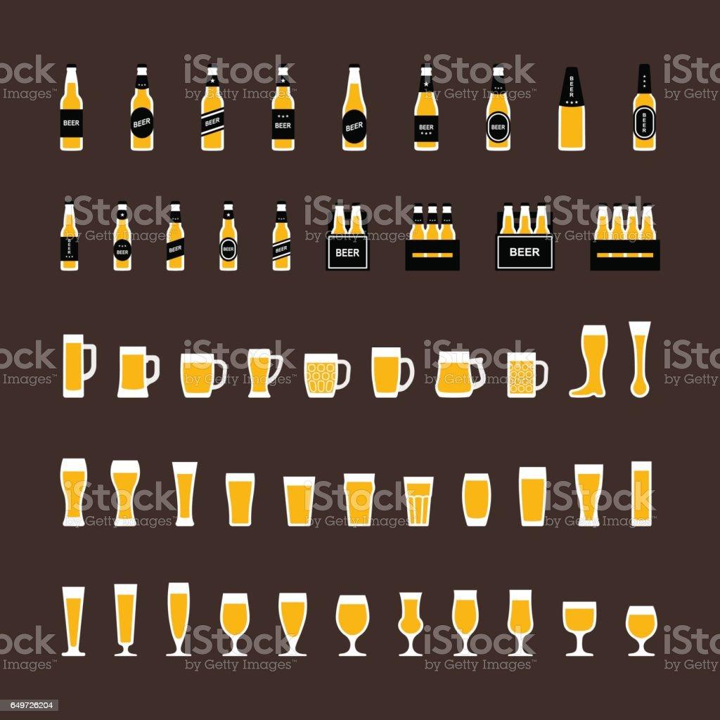 Bier-Symbole, die inmitten einer flachen Stil, Flaschen und Gläser – Vektorgrafik