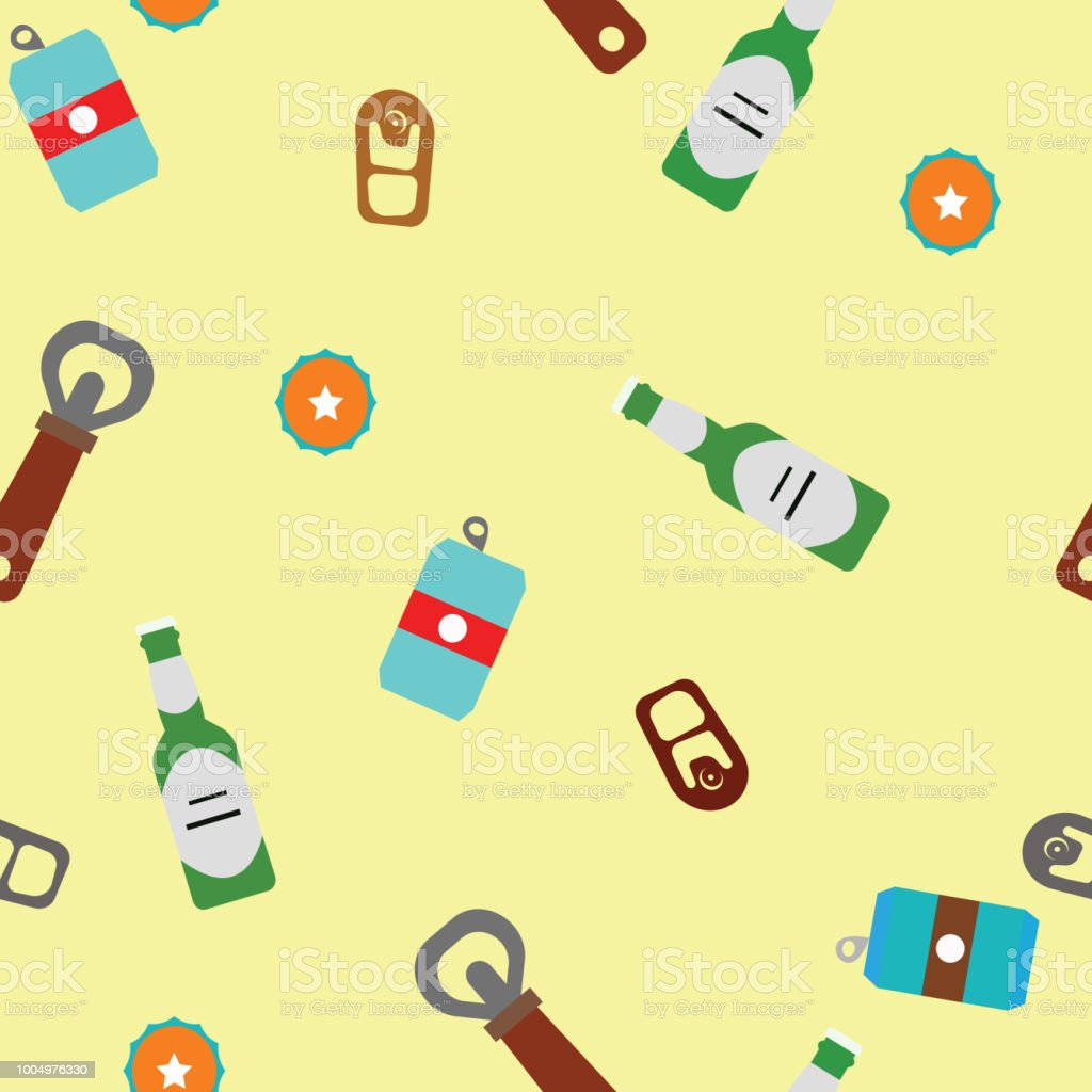 Beer in a bottles and cans on the yellow background. Pattern objects. Vector illustration. vector art illustration