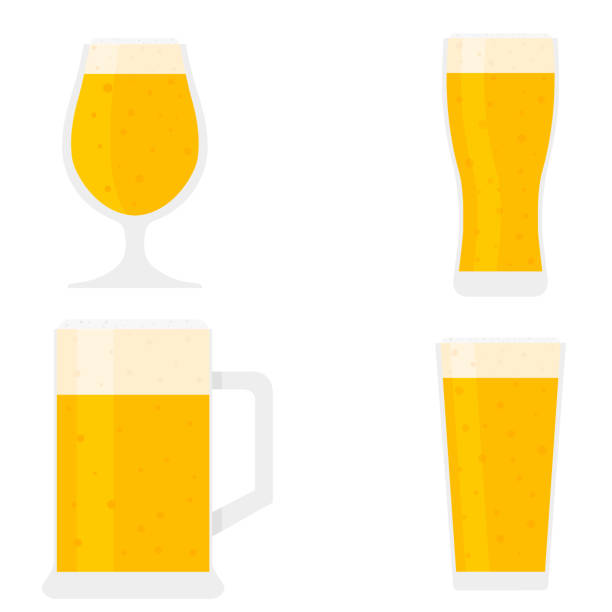 Beer in a glass flat on white background Beer in a glass flat on white background beer glass stock illustrations