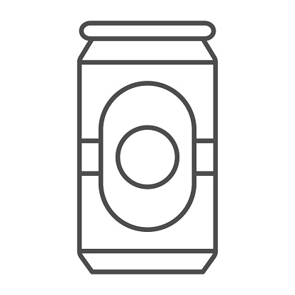 Beer in can thin line icon, Oktoberfest concept, beverage can sign on white background, Aluminum Beer container icon in outline style for mobile concept and web design. Vector graphics.