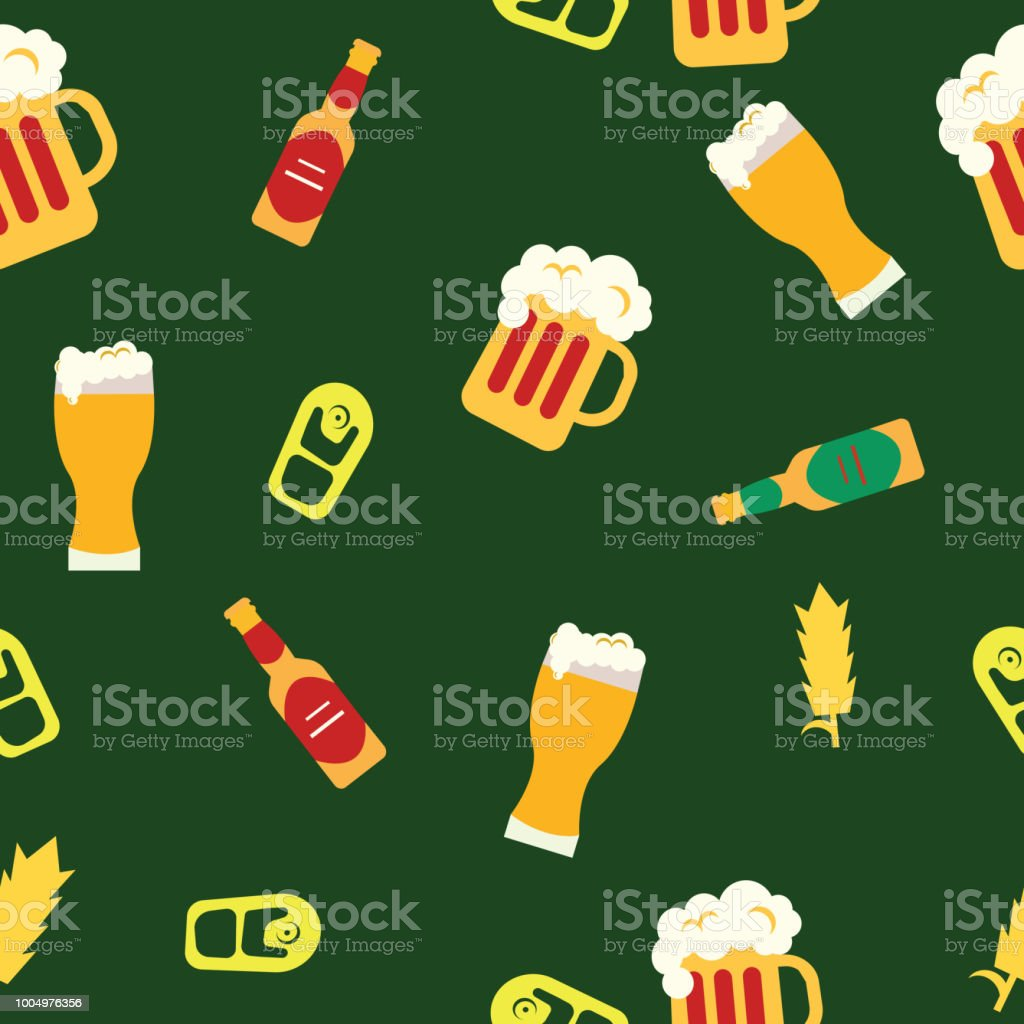 Beer in cups beer in bottles and wheat on the green background. Tile objects. Vector illustration. vector art illustration