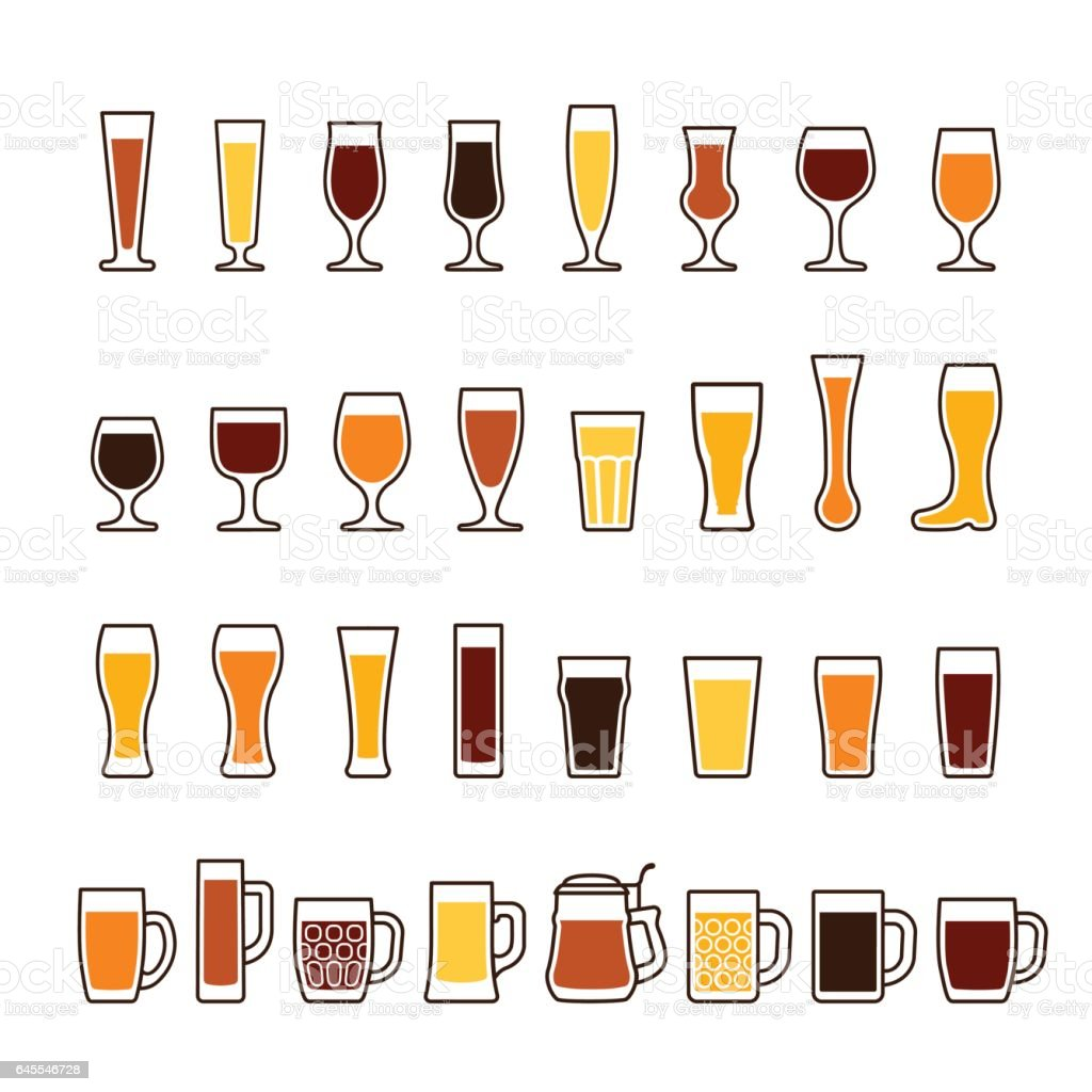 Beer in glasses and mugs, different types. Vector icon set vector art illustration