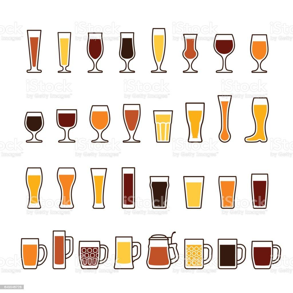 Bier in Gläsern und Tassen, verschiedene Arten. Vektor-Icon-set – Vektorgrafik