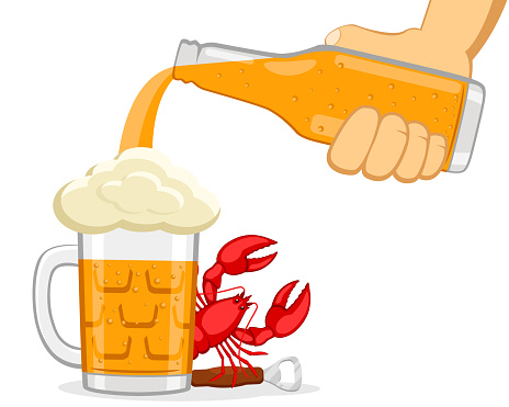 Beer is poured from a bottle into a glass with a lobster on a white. Oktoberfest