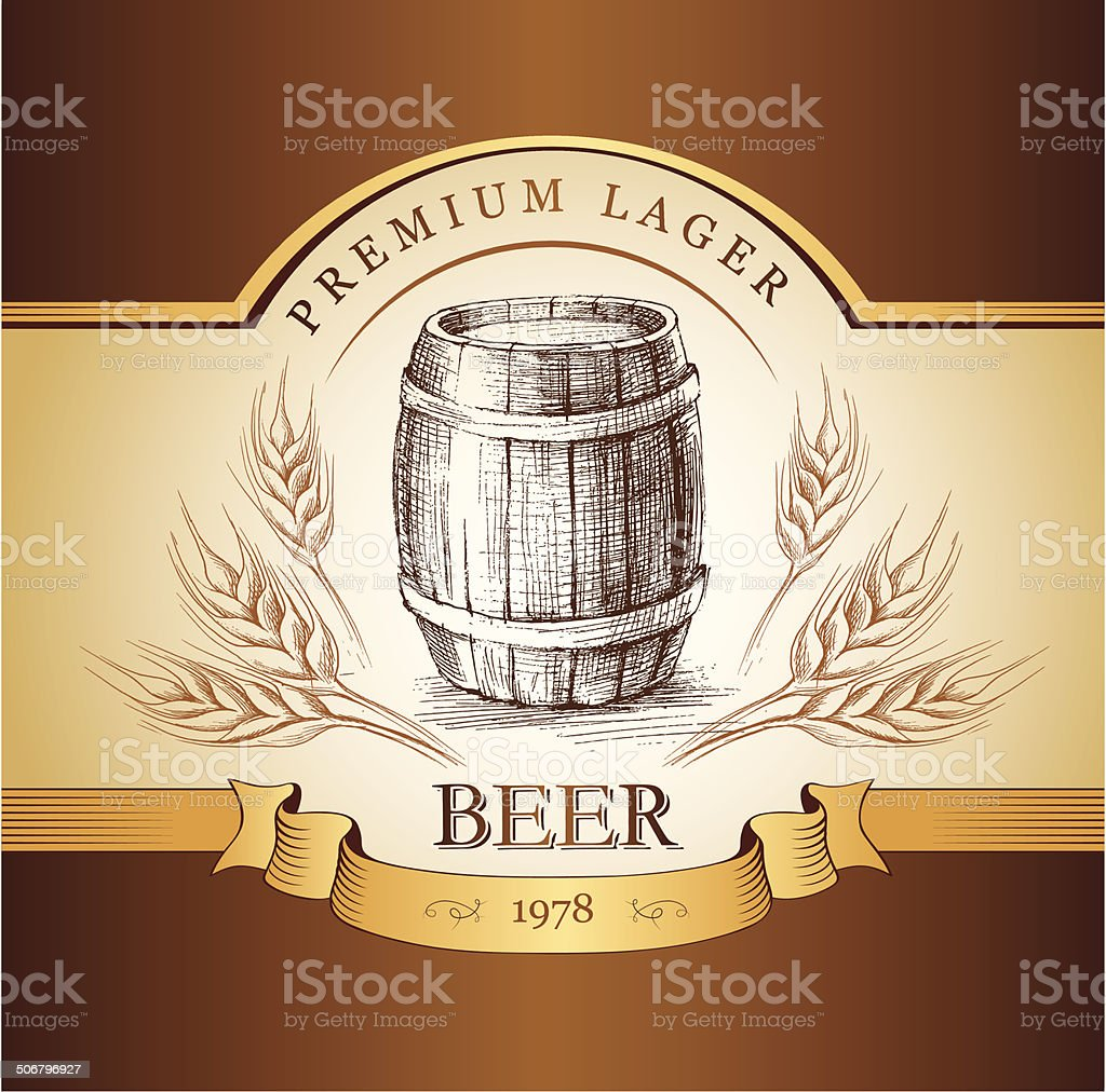 beer keg  for label, package.vintage barrel . wheat ear vector art illustration