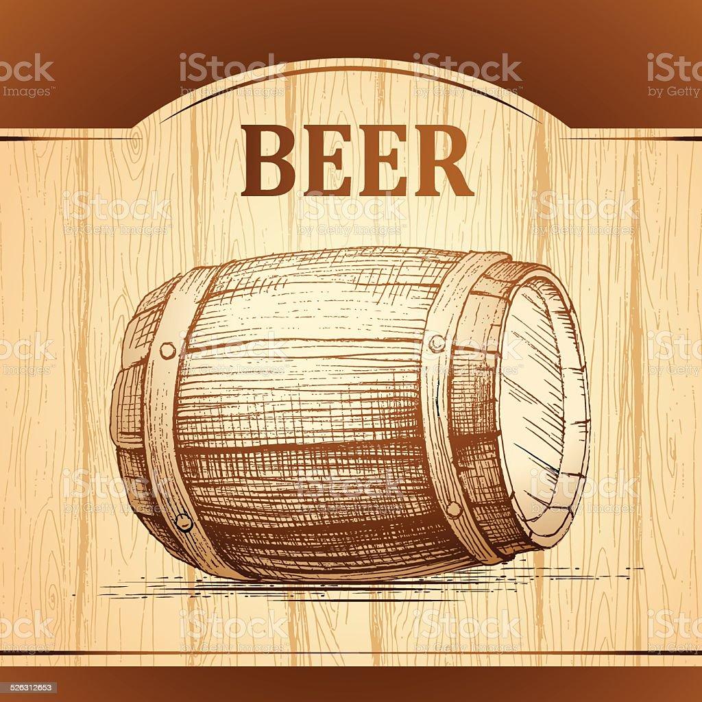 Cerveza De Barril Para Etiquetar Package De Madera Fondo