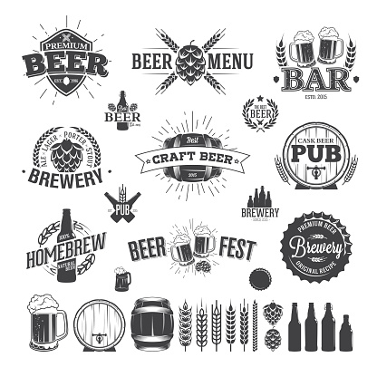 Beer Label and Logos for design of bars and beer gardens