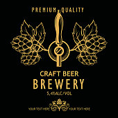 illustration of label for craft beer in retro style