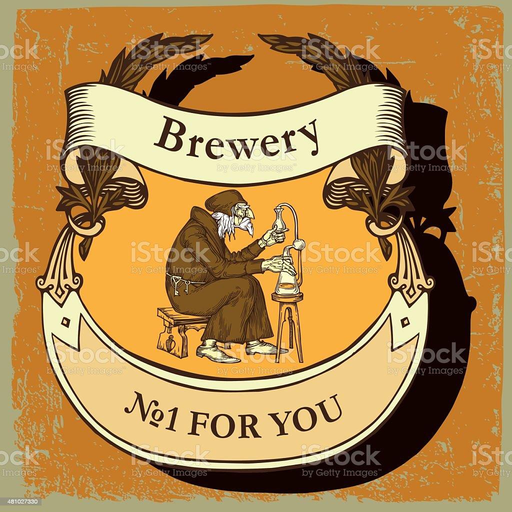 Beer label for brasserie restaurant vector art illustration