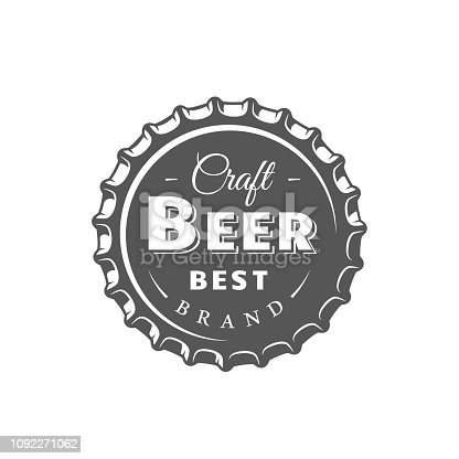Beer label isolated on white background. Design element. Vector illustration