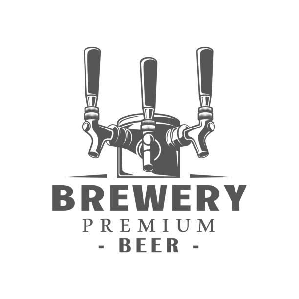 bildbanksillustrationer, clip art samt tecknat material och ikoner med öl etikett isolerad på vit bakgrund - pub