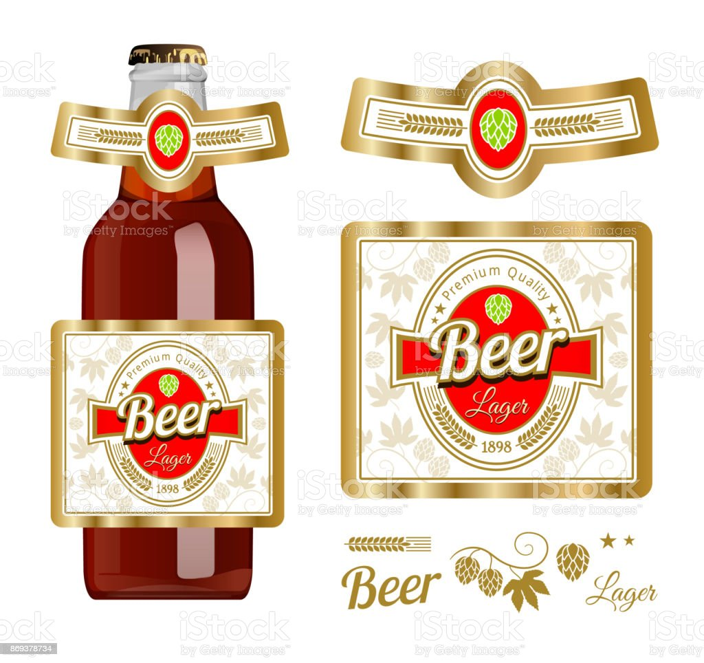 Beer Label Template With Neck Label Lager Beer Vector Illustration
