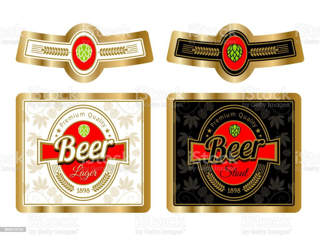 beer label template with neck label vector illustration stock vector