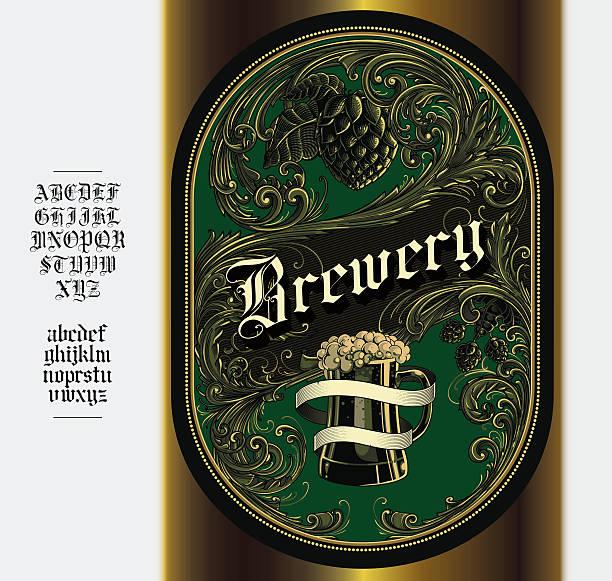 bildbanksillustrationer, clip art samt tecknat material och ikoner med beer label - gotisk stil