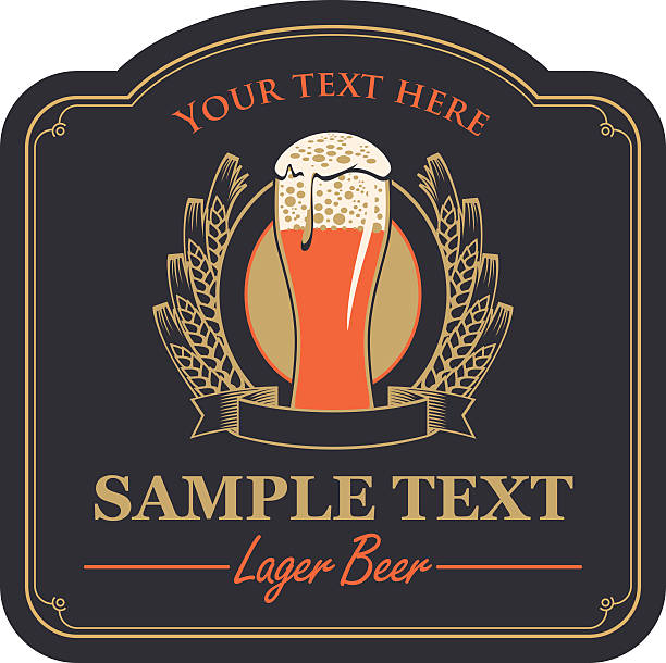 beer label with a glass vector art illustration