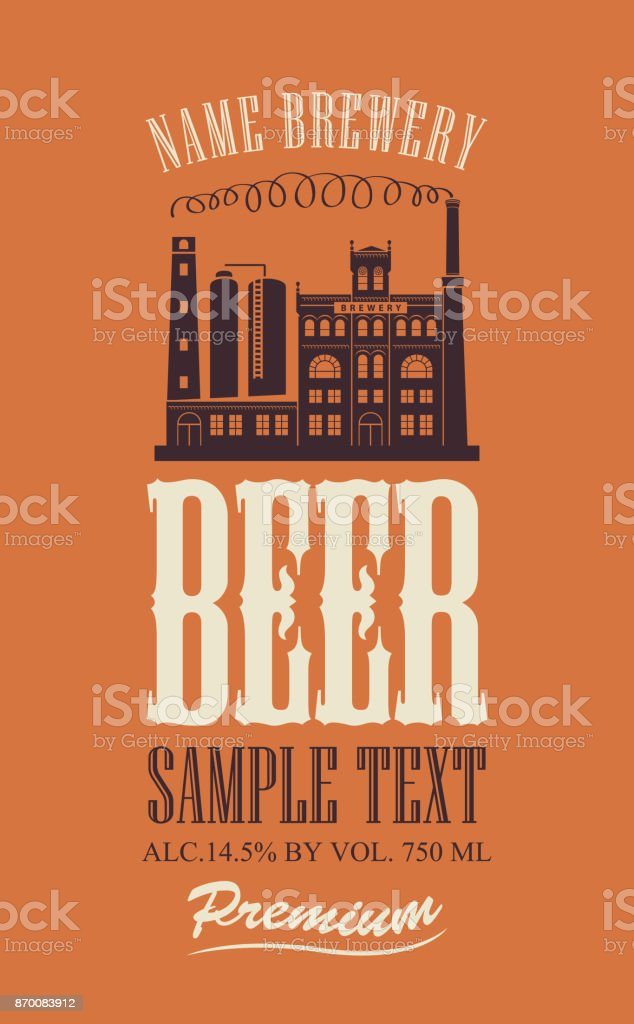 beer label with the image of the brewery building vector art illustration