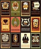 Beer labels design set