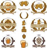 Ingredients for the production of beer. Beer company logo, label beer. The emblem of beer. Hops, malt, yeast. Set of beer label design elements.