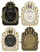 Set of labels with wheat ears, crown and handwritten inscriptions in figured frames. Vector labels for craft beer and brewery in retro style