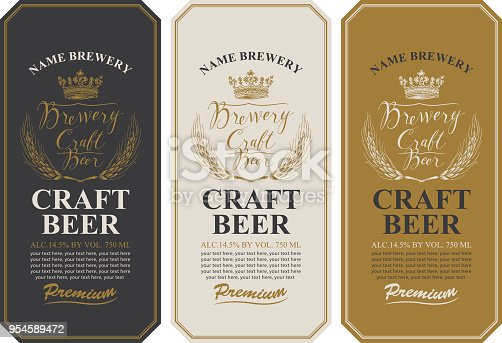 Set of three beer labels with wheat ears, handwritten inscriptions, crown and place for text. Vector labels or banners for craft beer and brewery in retro style