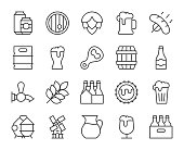 Beer Light Line Icons Vector EPS File.