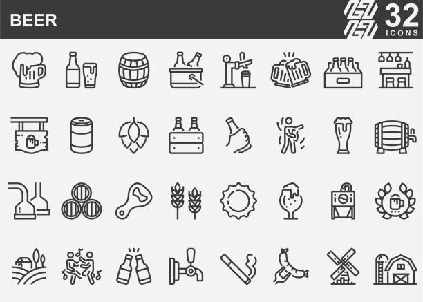 stockillustraties, clipart, cartoons en iconen met bierlijn iconen - bier
