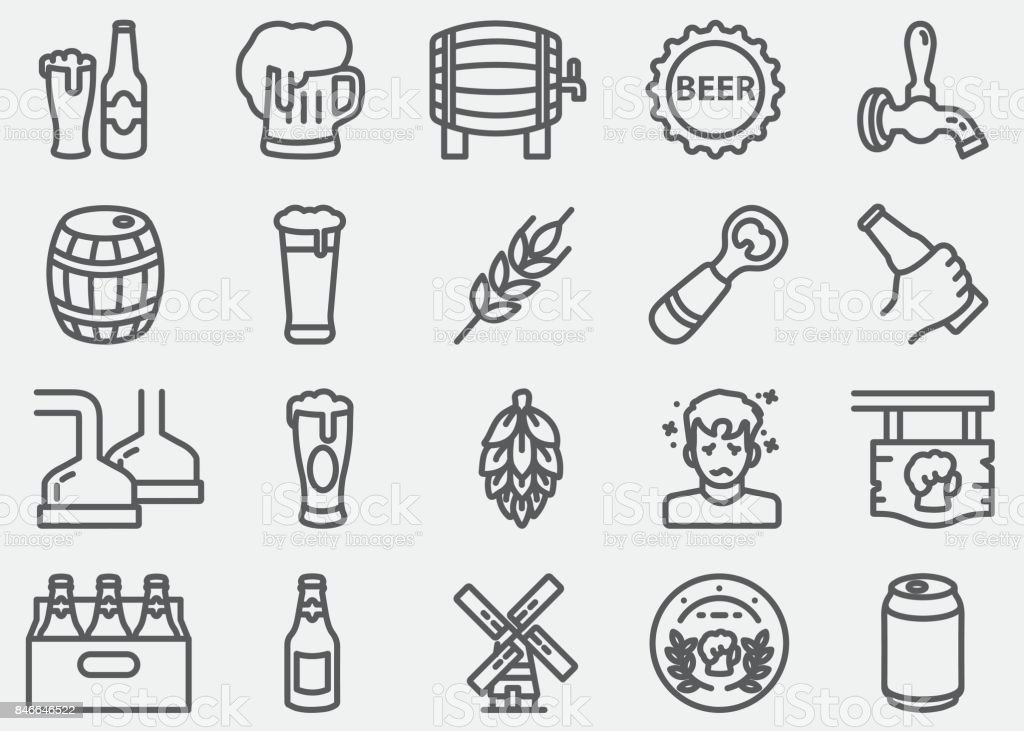 Beer Line Icons vector art illustration