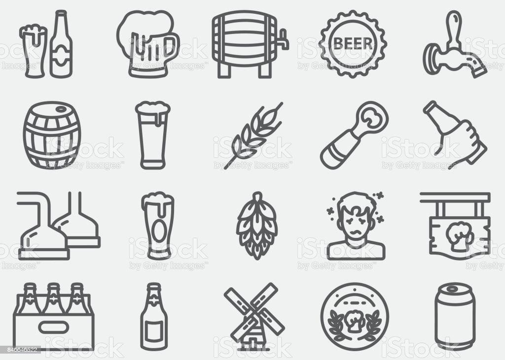 Icônes de ligne bière - Illustration vectorielle