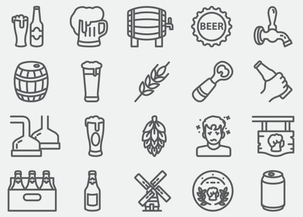 Bier lijn pictogrammen​​vectorkunst illustratie