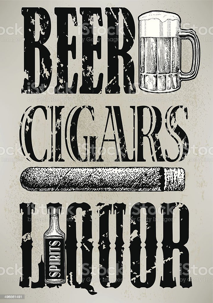 Beer, Liquor, Cigar, Retro vector art illustration