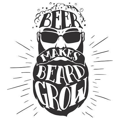 Beer makes beard grow Oktoberfest illustration