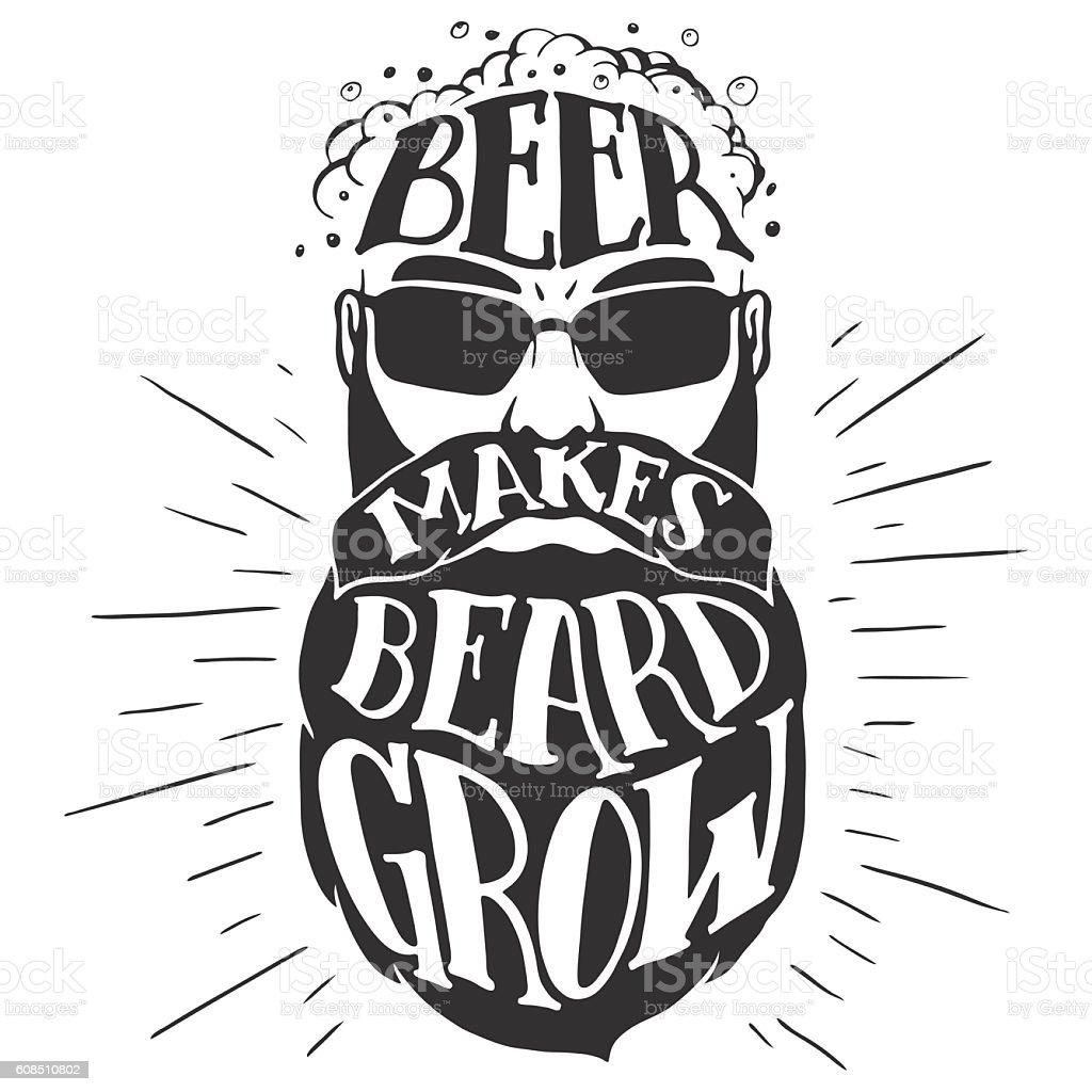 Beer makes beard grow Oktoberfest illustration - Illustration vectorielle