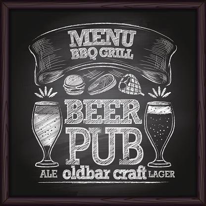 Beer Menu. BBQ grill on a blackboard.