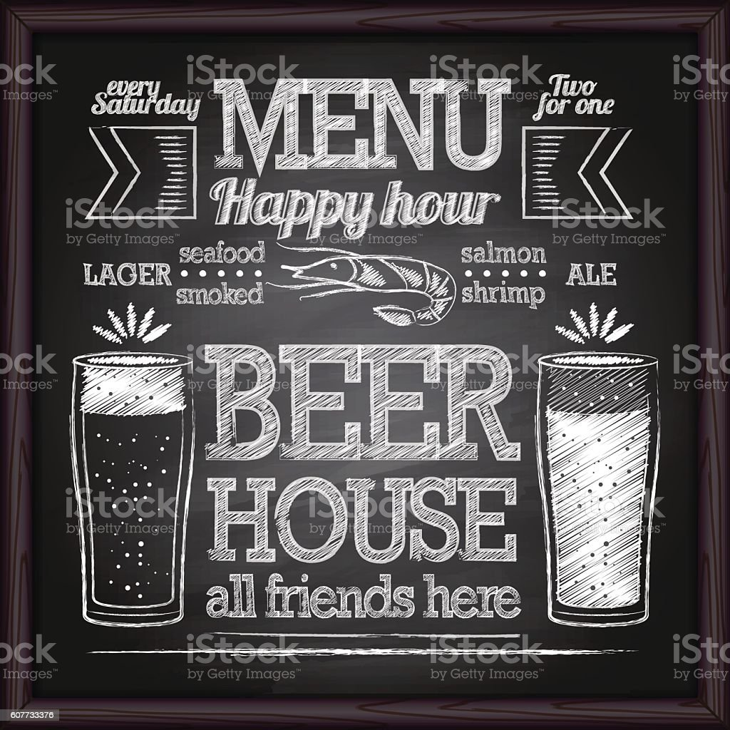 Beer Menu. Chalk on a blackboard. vector art illustration