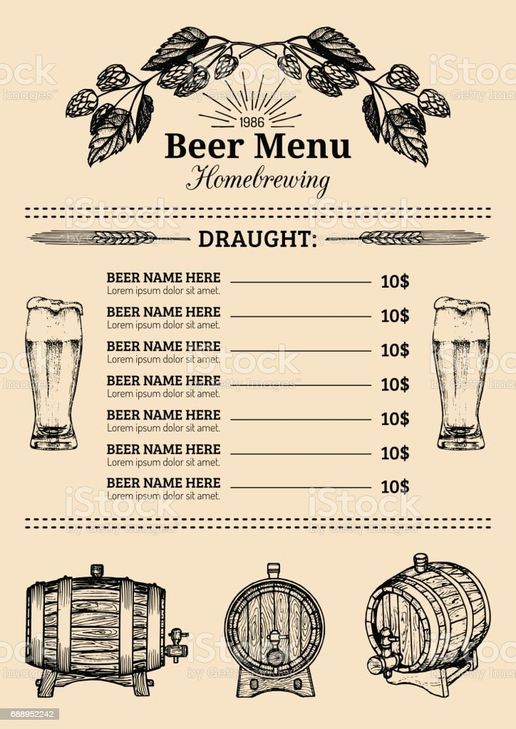Beer Menu Design Templatevector Pub Restaurant Card With Hand