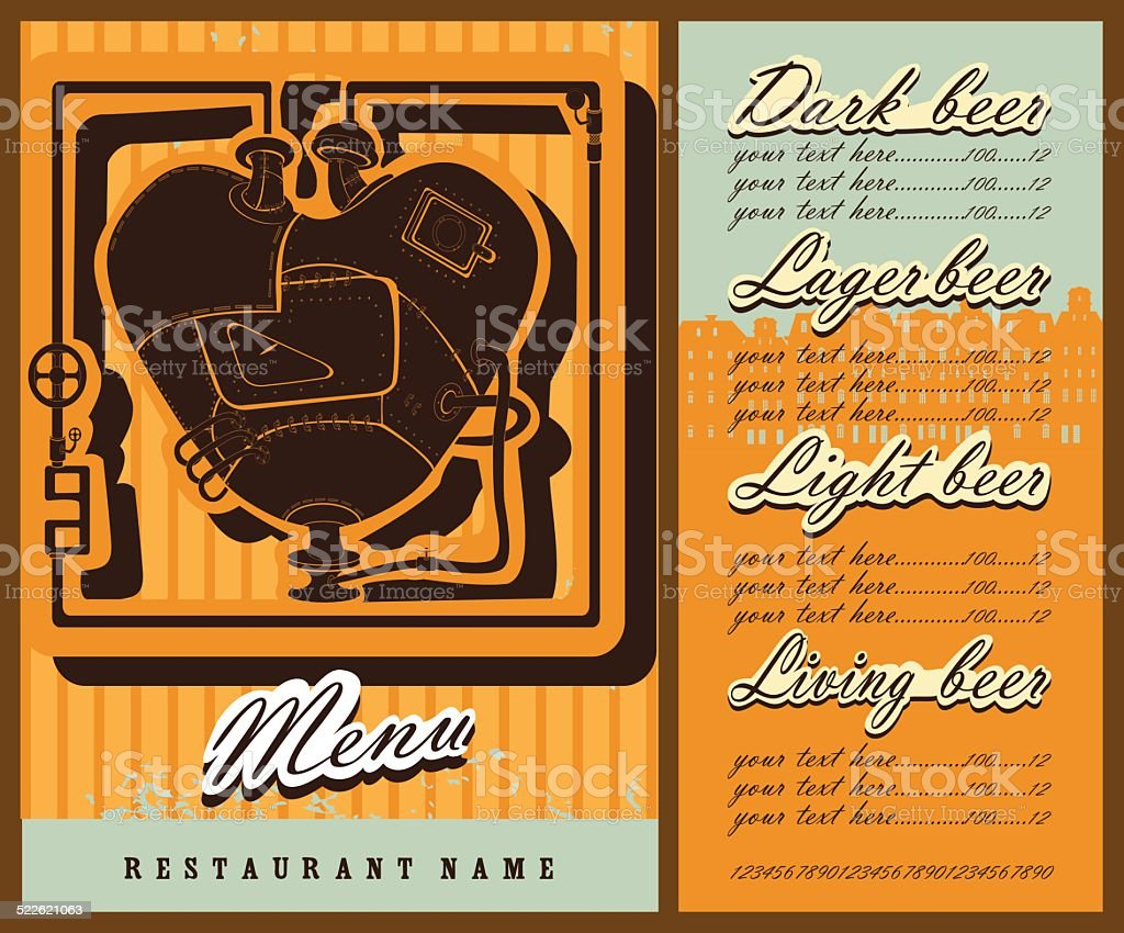 Beer Menu Design With Steam Punk Heart Stock Vector Art More