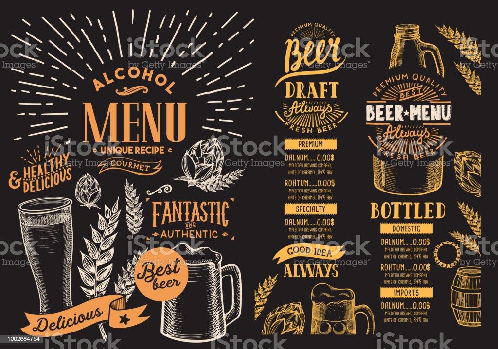 맥주 레스토랑 메뉴입니다. 손으로 그린 그래픽 일러스트와 함께 서식 파일을 디자인 합니다. 벡터 음료 고객에 대 한 바. - 로열티 프리 고풍스런 벡터 아트