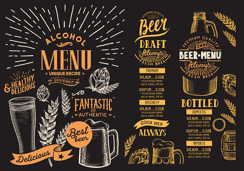 Beer menu for restaurant. Design template with hand-drawn graphic illustrations. Vector beverage flyer for bar.