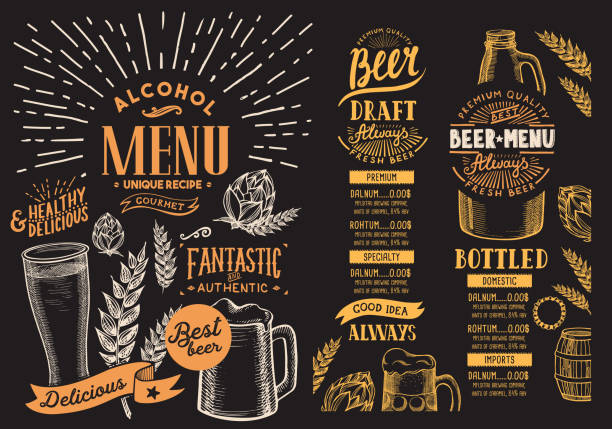 Beer menu for restaurant. Design template with hand-drawn graphic illustrations. Vector beverage flyer for bar. Beer menu for restaurant. Design template with hand-drawn graphic illustrations. Vector beverage flyer for bar. beer stock illustrations