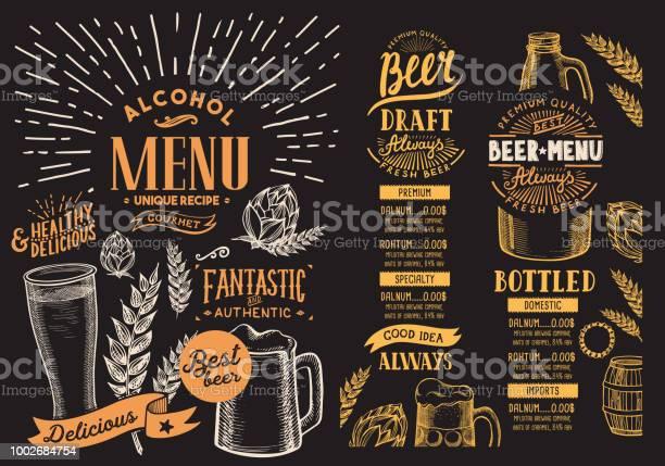 맥주 레스토랑 메뉴입니다 손으로 그린 그래픽 일러스트와 함께 서식 파일을 디자인 합니다 벡터 음료 고객에 대 한 바 고풍스런에 대한 스톡 벡터 아트 및 기타 이미지