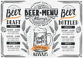 Beer menu for restaurant and cafe. Design template with hand-drawn graphic elements in doodle style.