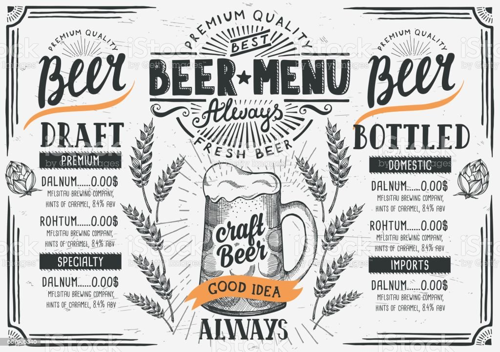 Beer menu restaurant, drink template. - illustrazione arte vettoriale