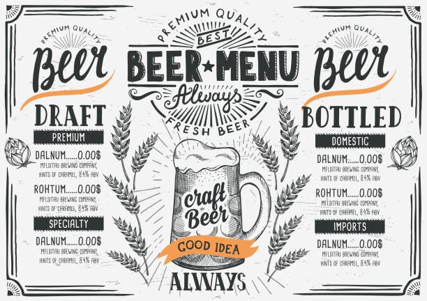 Beer menu restaurant, drink template. vector art illustration
