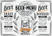 Beer menu restaurant, drink template.